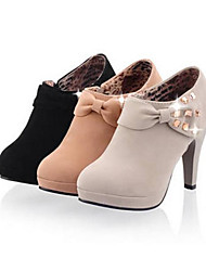 Femme Chaussures Cuir Nubuck Hiver Automne Confort Chaussures à Talons Talon haut Bout rond Pour Décontracté Noir Gris Kaki