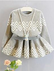 cheap -Girls' Jacquard Clothing Set,Cotton Winter Spring Long Sleeve Cute Gray