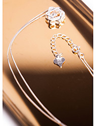 cheap -Women's Star Cubic Zirconia Zircon Silver Sticky Rhinestones Pendant Necklace - Elegant Sweet Star Silver Necklace For Gift Daily