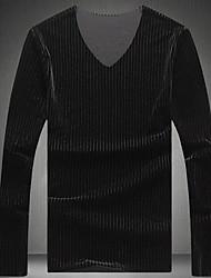 Masculino Camiseta Para Noite Casual Moda de Rua Listrado Poliéster Decote V Manga Longa