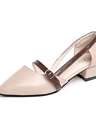 cheap -Women's Shoes PU Summer Comfort Heels Chunky Heel Pointed Toe Buckle for Casual Brown Light Pink