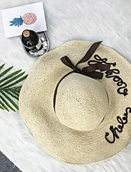cheap -Women's Linen Straw Hat,Casual Solid Spring, Fall, Winter, Summer