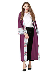 Women's Daily Going out Boho Street chic Loose Swing Dress,Solid Floral Color Block V Neck Maxi Long Sleeve Polyester Elastane Spring Fall