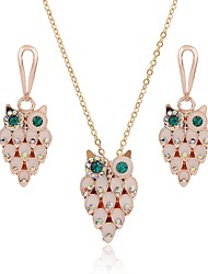 baratos -Mulheres Brincos Compridos Colar Gema Clássico Fashion Diário Opala Imitações de Diamante Liga Coruja 1 Colar Brincos