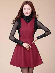 cheap -Women's Daily Going out Casual Sheath Dress,Patchwork Turtleneck Above Knee Long Sleeves Cotton Fall Mid Rise Inelastic Opaque Medium