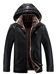 Men's Daily Plus Size Simple Vintage Casual Punk & Gothic Winter Fur Coat,Solid Hooded Long Sleeves Regular PU Others
