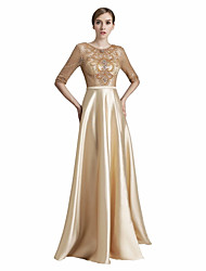 cheap -A-Line Ball Gown Jewel Neck Floor Length Satin Chiffon Prom Formal Evening Dress with Beading Lace by Sarahbridal