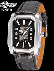 WINNER Homens Relógio Elegante Relógio de Pulso relógio mecânico Automático - da corda automáticamente Gravação Oca Couro Banda Brilhante