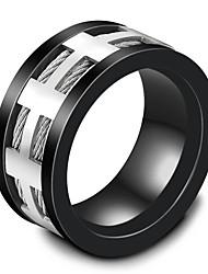 billige -mænds band ringe mode vintage titanium stål cirkel kryds smykker til bryllup aften fest