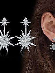 cheap -Women's Drop Earrings Cubic Zirconia Rhinestone Adorable Elegant Silver Cubic Zirconia Flower Jewelry For Wedding Evening Party