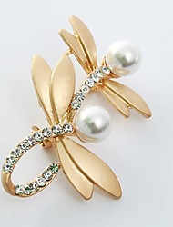 cheap -Women's Brooches Rhinestone Imitation Pearl Animals Lovely Sweet Imitation Pearl Imitation Diamond Alloy Dragonfly Gold Silver Jewelry For