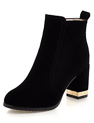 cheap -Women's Shoes Leatherette Winter Fashion Boots Boots Chunky Heel Round Toe Booties/Ankle Boots For Casual Dress Red Black