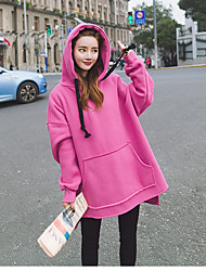 Women's Daily To-Go Casual Hoodie Solid Hooded Micro-elastic Cotton Long Sleeves Autumn/Fall