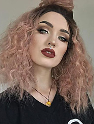 cheap -Synthetic Lace Front Wig Kinky Curly With Baby Hair Synthetic Hair Red Wig Women's Medium Length Lace Front