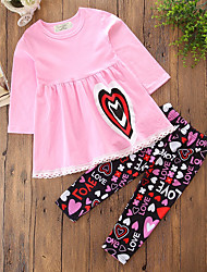 cheap -Girls' Solid Striped Floral Clothing Set,Cotton Fall Spring, Fall, Winter, Summer Long Pant Cute Casual Punk & Gothic Blushing Pink