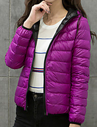 Women's Down Coat,Casual Daily To-Go Solid-Nylon Long Sleeves