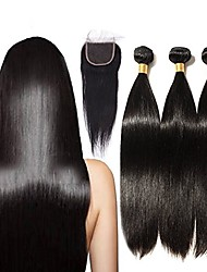 baratos -Cabelo Brasileiro Liso Cabelo Remy Cabelo Humano Ondulado 3 pacotes com fechamento 16-20polegada Tramas de cabelo humano 4x4 Encerramento