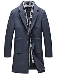 Недорогие -Для мужчин На каждый день Офис Зима Осень Пальто Рубашечный воротник,Простой Однотонный Длинная Длинные рукава,Шерсть Хлопок Акрил