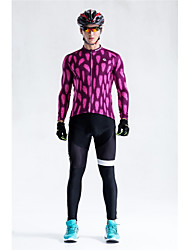 cheap -Malciklo Long Sleeve Cycling Jersey with Bib Tights - Burgundy Bike Clothing Suit, Quick Dry, Anatomic Design, Reflective Strips / Stretchy / High Elasticity