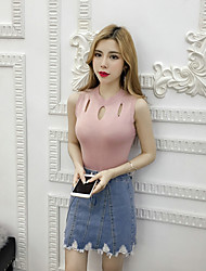 cheap -Women's Daily Short Pullover,Solid Round Neck Sleeveless Others Spring Thin Micro-elastic