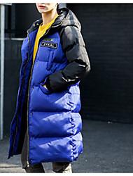 Langærmet Vatteret Damer Frakke,Simple I-byen-tøj Afslappet/Hverdag Farveblok-Polyester