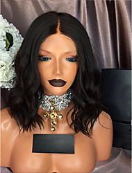 cheap -Human Hair Lace Front Wig Wig Brazilian Hair Water Wave Bob Haircut / With Baby Hair 130% Density 100% Virgin Women's Short Human Hair Lace Wig
