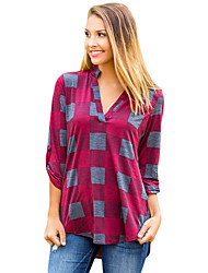 cheap -Women's Holiday Going out Street chic Autumn/Fall Shirt,Houndstooth V Neck Long Sleeves Polyester Elastane Medium