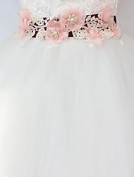 abordables -Satin/ Tulle Métallique Mariage Occasion spéciale Ceinture With Strass Imitation Perle Fleur Femme Ceintures