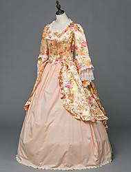 abordables -Victorien Rococo Costume Femme Adulte Bal Masqué Costume de Soirée Rose Vintage Cosplay Satin Stretch Satin Manches Longues Longueur Sol