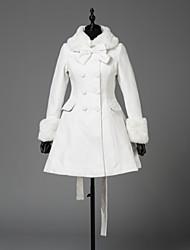 cheap -Princess Winter Sweet Lolita Coat Wool Women's Girls' Coat Cosplay White Long Sleeve Above Knee Halloween Costumes