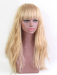 cheap -Women Human Hair Capless Wigs Beige Blonde//Bleach Blonde Medium Auburn Honey Blonde Natural Black Long Wavy Natural Hairline