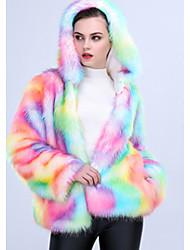 economico -Cappotto di pelliccia Da donna Casual Semplice Inverno,Tinta unita Monocolore Con cappuccio Altro Standard Manica lunga