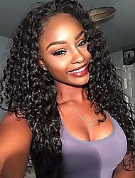 abordables -Femme Perruque Naturelle Dentelle Brésiliens Cheveux humains Lace Front 130% Densité Avec Mèches Avant Très Frisé Perruque Noir de jais
