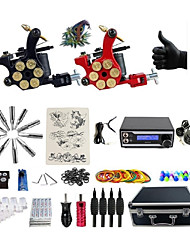 cheap -Basekey Pro Tattoo Kit 2 Machines With WildFire Digital Power Supply Grips Cleaning Brush  Needles