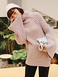 Standard Pullover Da donna-Casual Semplice Tinta unita Dolcevita Manica lunga Cotone Primavera/Autunno Medio spessore Media elasticità
