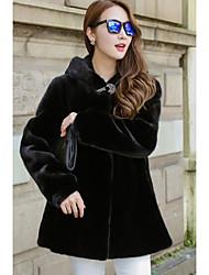 economico -Cappotto di pelliccia Da donna Per uscire Casual Semplice Inverno,Tinta unita Con cappuccio Altro Standard Manica lunga