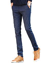abordables -Homme Grandes Tailles Décontracté Chic de Rue Taille Normale Micro-élastique Skinny Chino Pantalon, Coton Hiver Couleur Pleine Rayé Damier