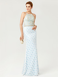 cheap -Sheath / Column Jewel Neck Floor Length Satin Metallic Lace Mother of the Bride Dress with Beading by LAN TING BRIDE®