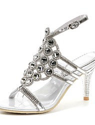 cheap -Women's Shoes Polyurethane Spring Summer Fashion Boots Sandals Open Toe Rhinestone Crystal Sparkling Glitter Buckle For Party & Evening