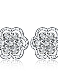 cheap -Women's Stud Earrings Cubic Zirconia Cute Korean Silver Zircon Flower Snowflake Jewelry For Prom Christmas