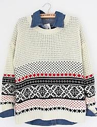 Недорогие -Для женщин На каждый день Обычный Пуловер Контрастных цветов,Круглый вырез Длинный рукав Шерстяная ткань Весна/осень Зима Средняя