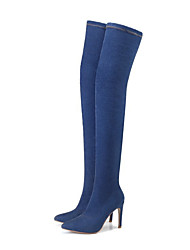 cheap -Women's Shoes Denim Fall Winter Cowboy / Western Boots Boots Over The Knee Boots For Casual Light Blue Blue