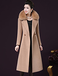 Women's Going out Plus Size Sophisticated Winter Fall Coat,Solid Long Sleeves Long Cashmere Polyester