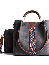 Women Bags PU Bag Set 2 Pieces Purse Set Zipper for Casual All Season Black Gray Dark Green