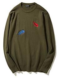 Standard Pullover Da uomo-Casual Tinta unita Rotonda Mezza manica Nylon Inverno Autunno Medio spessore strenchy