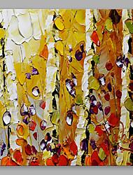 手描きの 花柄/植物の 方形, 近代の キャンバス ハング塗装油絵 ホームデコレーション 1枚