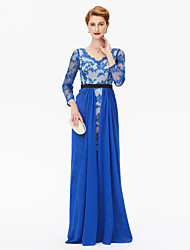 cheap -Sheath / Column V-neck Sweep / Brush Train Chiffon Lace Mother of the Bride Dress with Appliques Sash / Ribbon by LAN TING BRIDE®