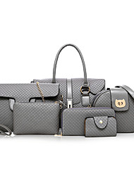 baratos -Mulheres Bolsas PU Conjuntos de saco 3 Pcs Purse Set Ziper Preto / Cinzento / Marron