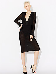 cheap -Women's Daily / Club Bodycon Dress - Solid Colored Backless / Mesh High Rise Deep V / Spring / Fall