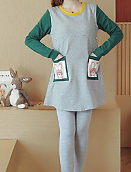cheap -Women's Suits Pajamas,Solid Color Cotton Polyester Blushing Pink Yellow Light gray